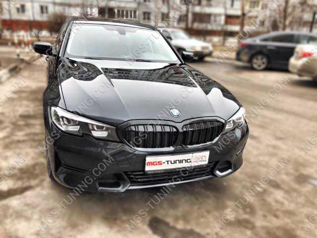 Решетка радиатора стиль М3 Черная на BMW 3 Series G20