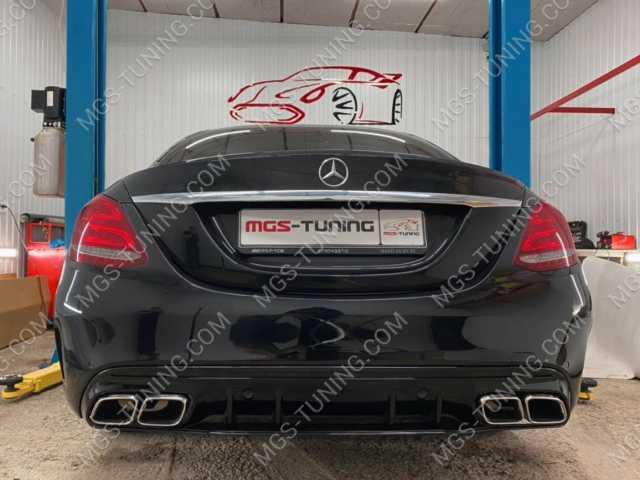 Задний диффузор в стиле C63 AMG Рестайлинг на Mercedes C Class W205